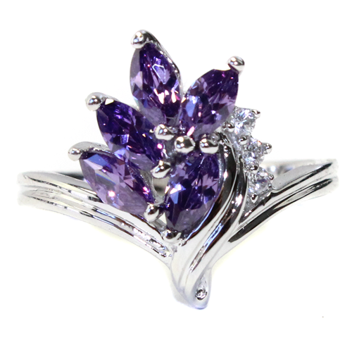 Purple Flower Ring Front