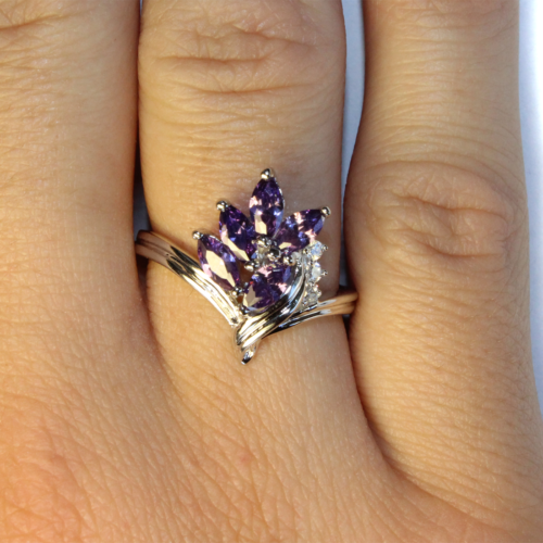 Purple Flower Ring on Hand 1