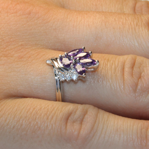 Purple Flower Ring on Hand 2