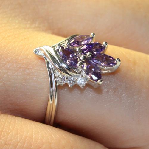 Purple Flower Ring on Hand