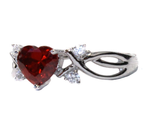 Ruby Heart Promise Ring Side