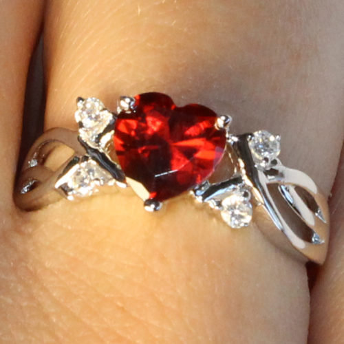 Ruby Heart Promise Ring on Hand