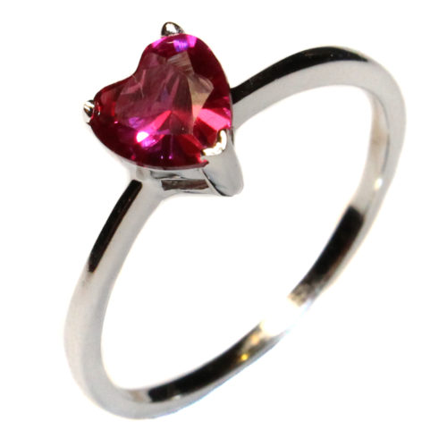 Ruby Heart Promise Ring - Cubic Zirconia Red