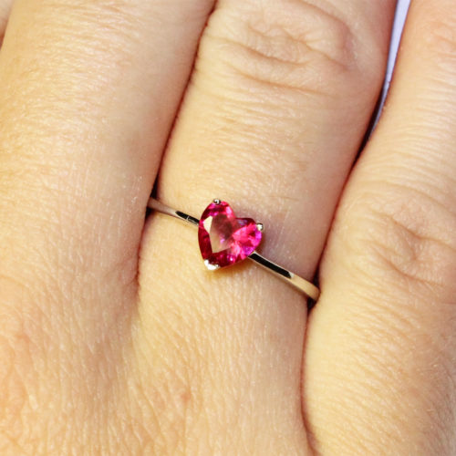 Ruby Heart Promise Ring - Cubic Zirconia Red on hand