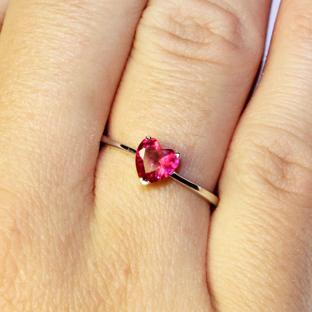 Ruby Heart Promise Ring Cubic Zirconia Red Beautiful