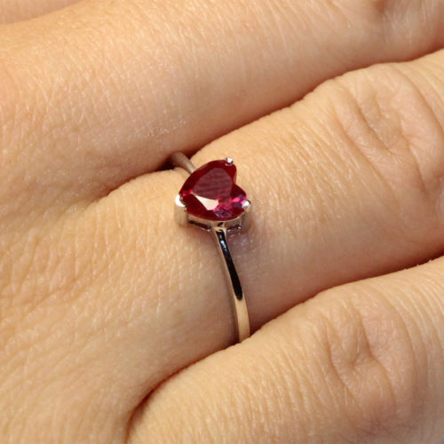 Ruby Heart Promise Ring - Cubic Zirconia Red on hand2