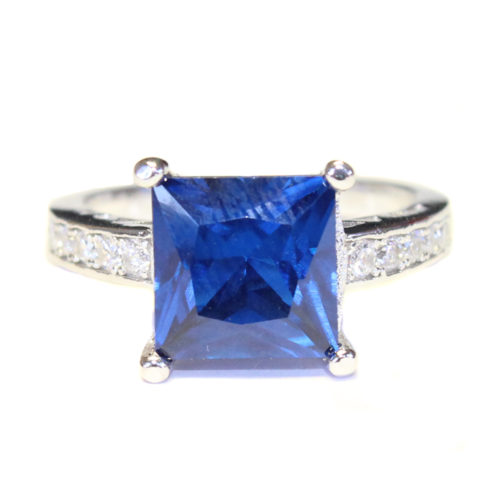 Sapphire Princess Cut Promise Ring Front
