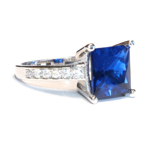 Sapphire Princess Cut Promise Ring Side