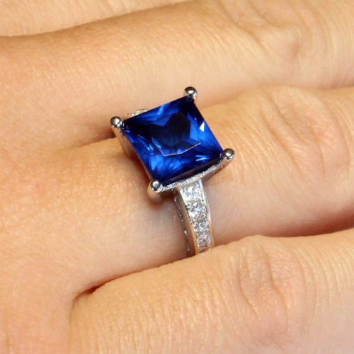 Sapphire Princess Cut Promise Ring on finger2