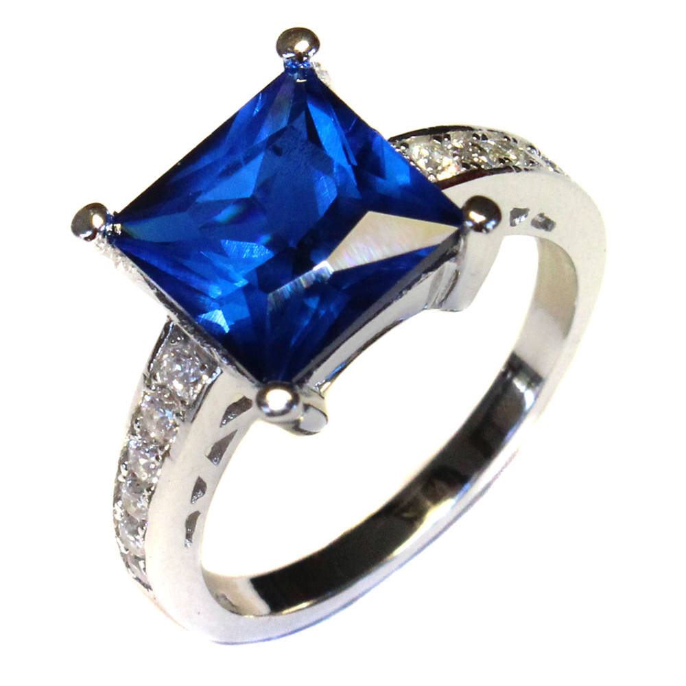 Princess Cut Sapphire Promise Ring Blue Cubic Zirconia Beautiful Promise