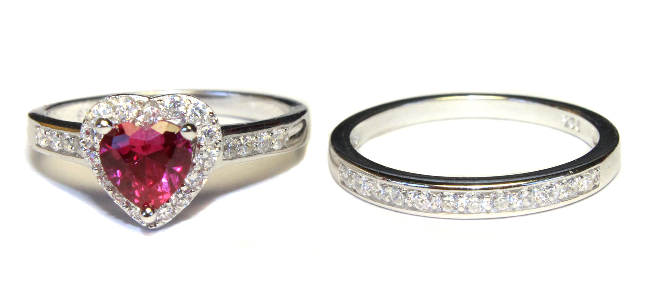 ruby promise ring with band cubic zirconia