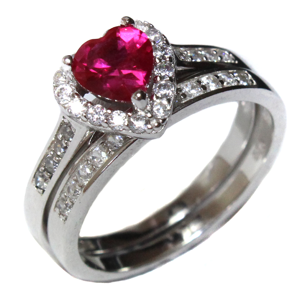 Ruby Heart Promise Ring With Band Red Cubic Zirconia