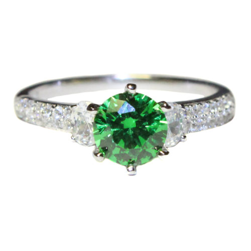 Emerald Promise Ring Solitaire Green Cubic Zirconia Front