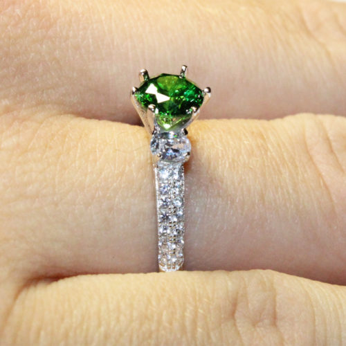 Emerald Promise Ring Solitaire Green Cubic Zirconia on Hand2