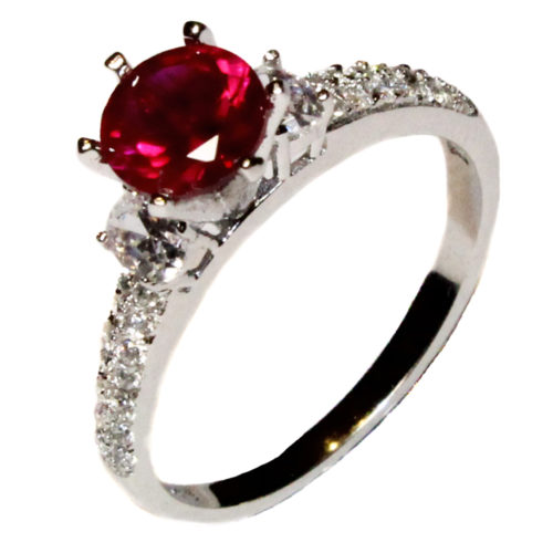 Ruby Promise Ring Solitaire Red Cubic Zirconia