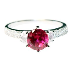 Ruby Promise Ring Solitaire Red Cubic Zirconia Front