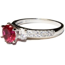 Ruby Promise Ring Solitaire Red Cubic Zirconia Side