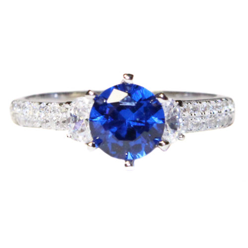 Sapphire Promise Ring Solitaire Blue Cubic Zirconia Front