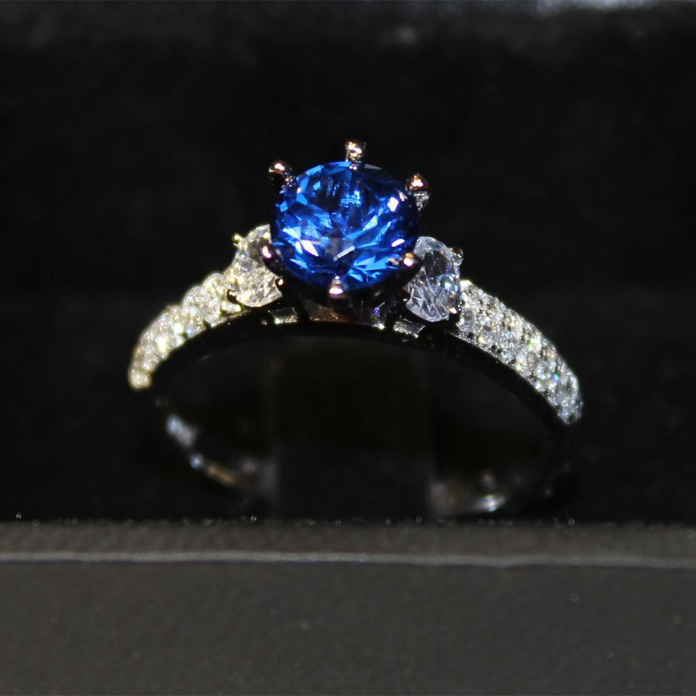 white products jewelers stone promise princess sapphire kevin engagement diamond blue cut ring gold