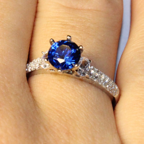 Sapphire Promise Ring Solitaire Blue Cubic Zirconia on Hand1