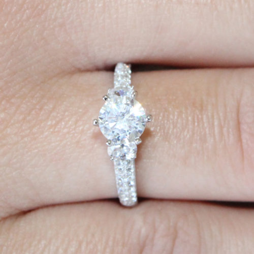 Diamond Promise Ring on Hand
