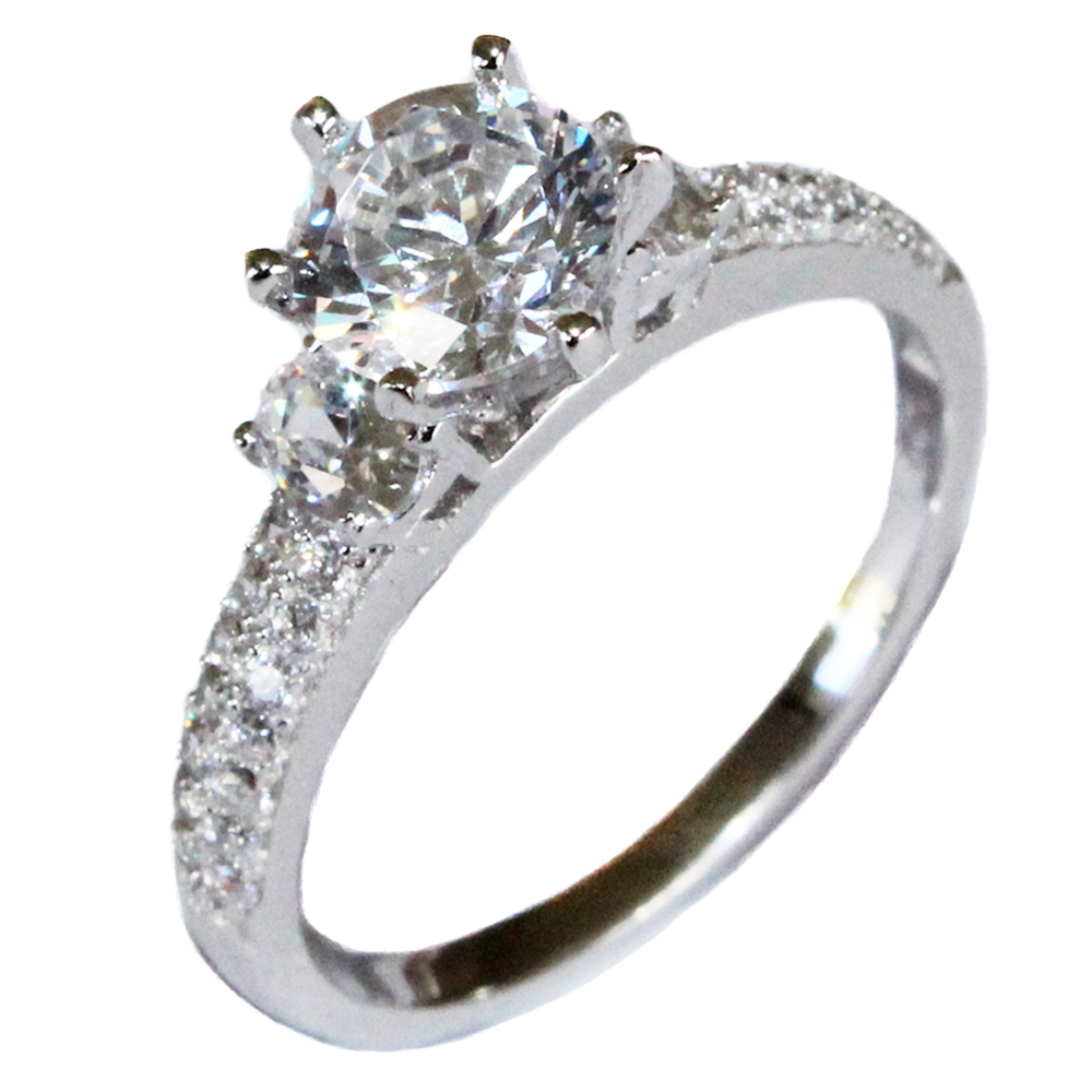 Solitaire Diamond Promise Ring - White Cubic Zirconia - Beautiful ...