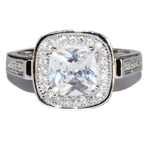 Diamond Halo Promise Ring Front