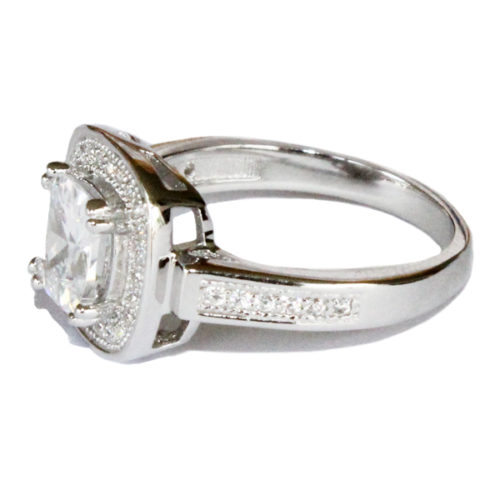 Diamond Halo Promise Ring Side