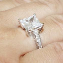 Princess Cut Diamond Promise Ring on Hand 2