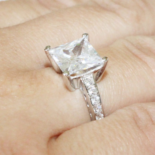 Princess Cut Diamond Promise Ring on Hand 2