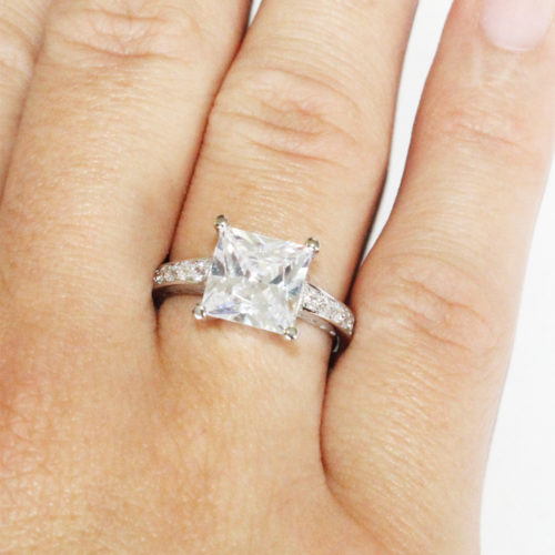 Princess Cut Diamond Promise Ring on Hand