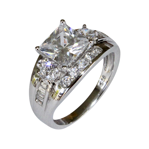 chunky diamond promise ring white cubic zirconia. Black Bedroom Furniture Sets. Home Design Ideas