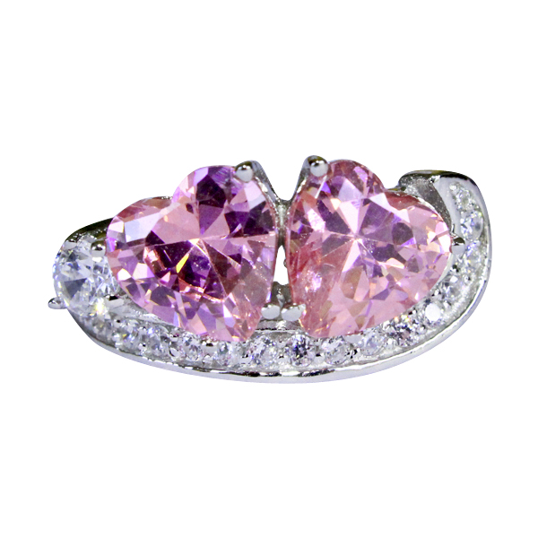pink hearts promise ring pink cubic zirconia