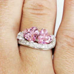 Double Pink Hearts Promise Ring on Hand