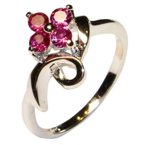 Ruby Flower Promise Ring