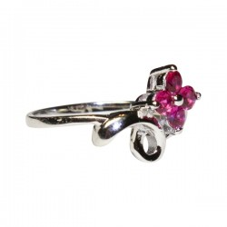 Ruby Flower Promise Ring Side