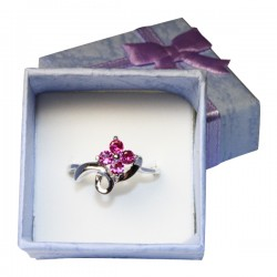 Ruby Flower Promise Ring in Box