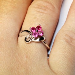 Ruby Flower Promise Ring on Hand 2