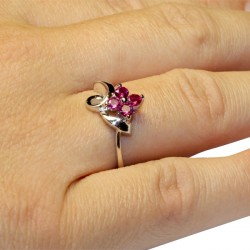 Ruby Flower Promise Ring on Hand