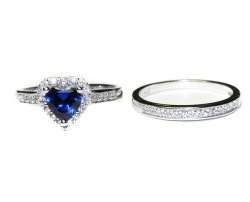 Sapphire Heart Promise Ring Front Side by Side