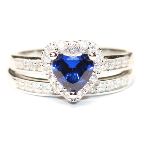 Sapphire Heart Promise Ring With Band Blue Cubic Zirconia Beautiful Promi