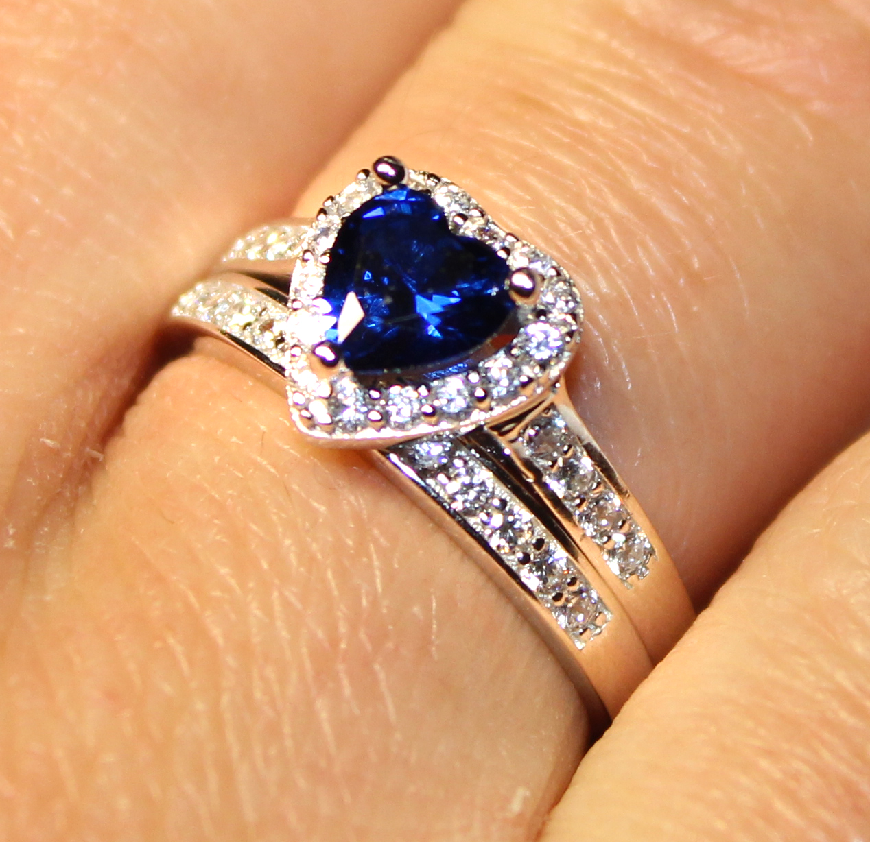 sapphire heart promise ring with band blue cubic zirconia