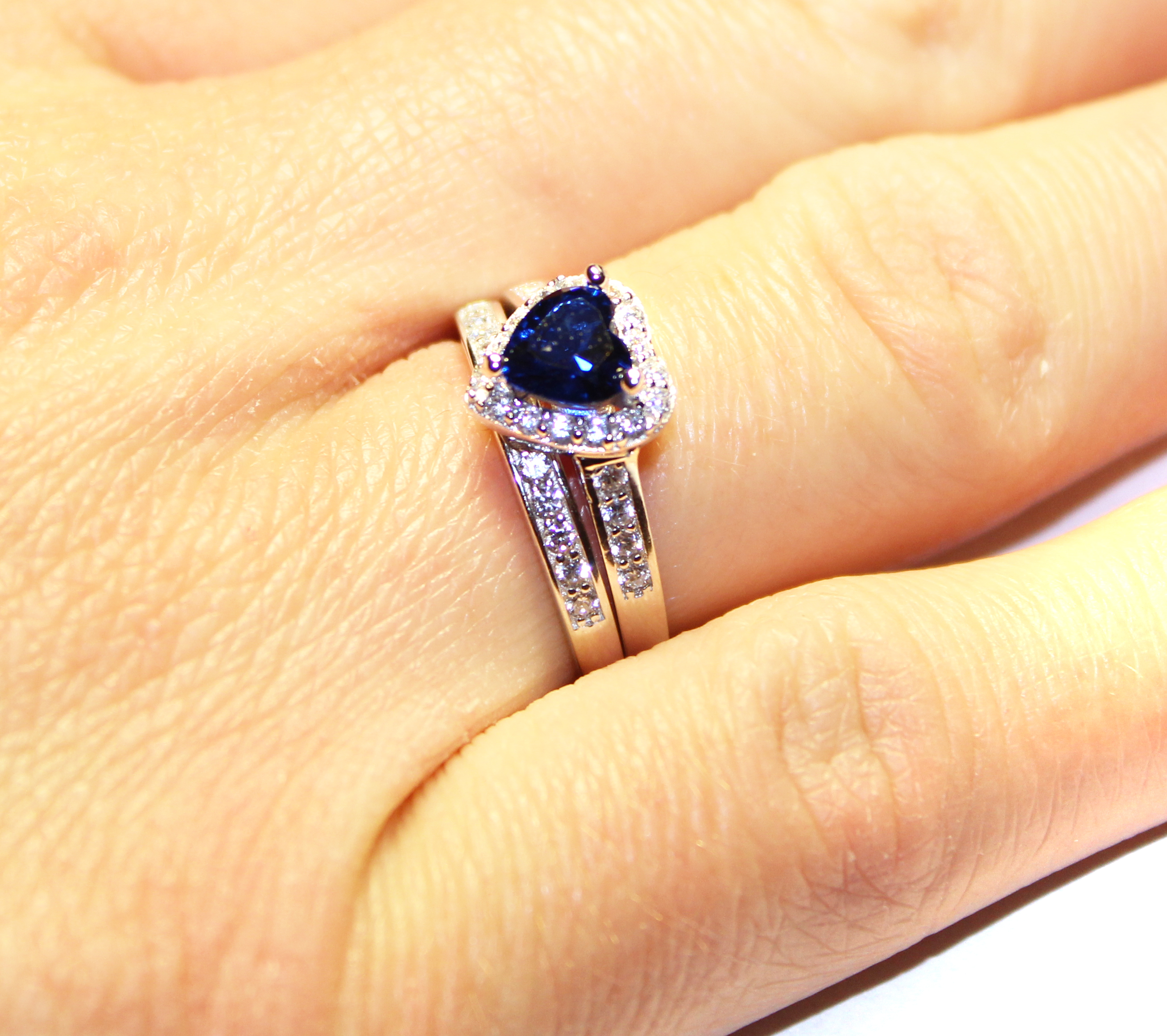 heart ring shaped on promise rings cute zirconia hand product bluecubic sapphire