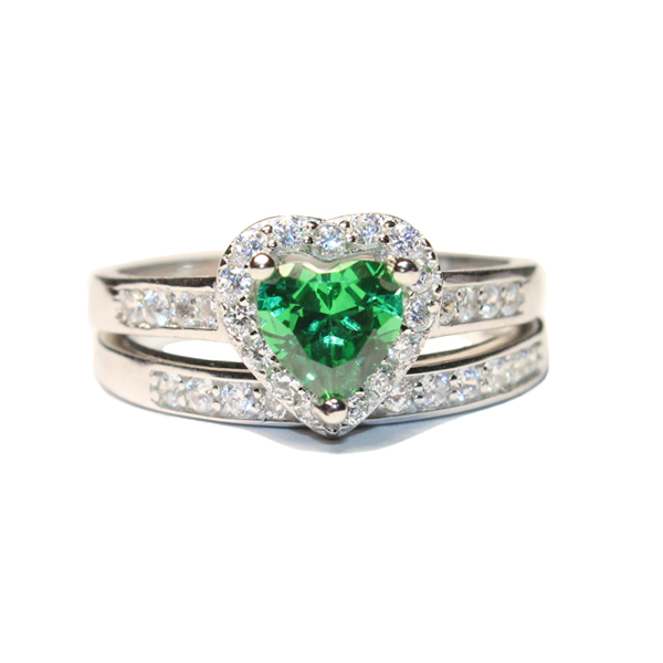 emerald promise ring with band green cubic