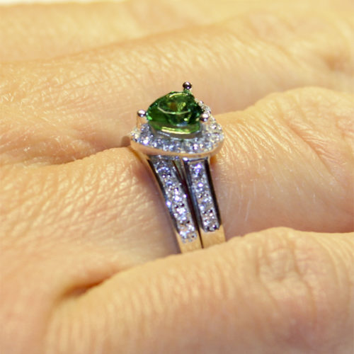 Emerald Heart Promise Ring on Hand 1
