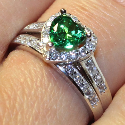 Emerald Heart Promise Ring on Hand 3