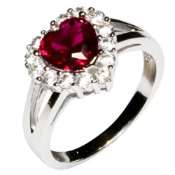 Ruby Halo Heart Promise Ring