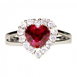 Ruby Halo Heart Promise Ring Front