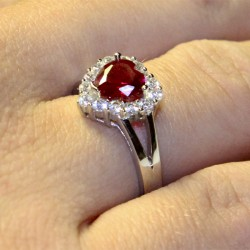 Ruby Halo Heart Promise Ring on Hand 1