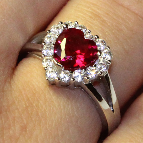 Ruby Halo Heart Promise Ring on Hand